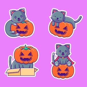 Coleção de adesivos fofos de gato e abóbora de halloween