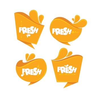 Coleção de adesivos frescos laranja