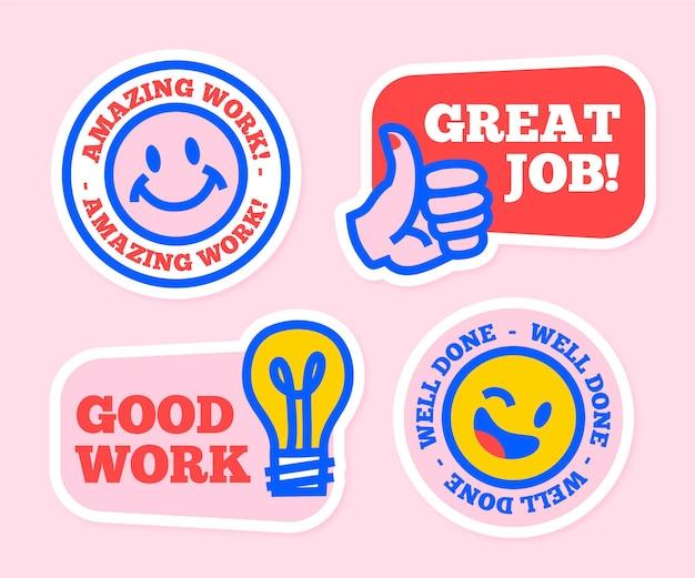Coleção de adesivos motivacionais de ótimo trabalho desenhados