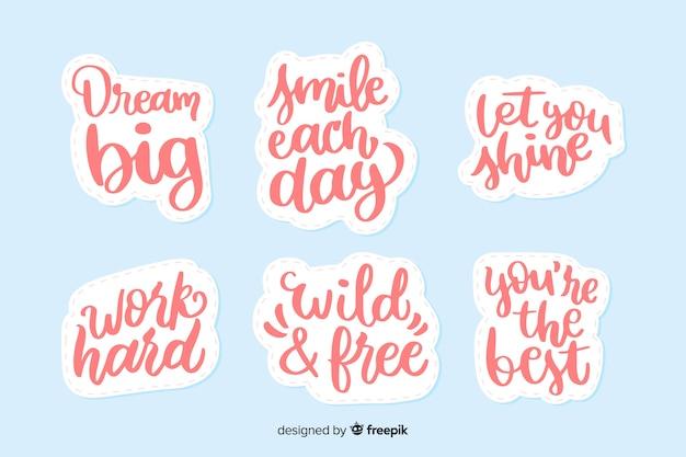 Coleção de adesivos motivacionais letras