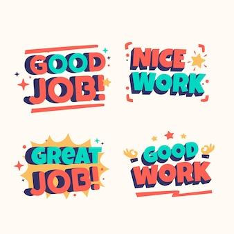 Coleção de adesivos orgânicos e motivacionais de ótimo trabalho