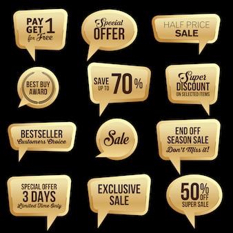 Coleção de adesivos promocionais de venda na web em ouro