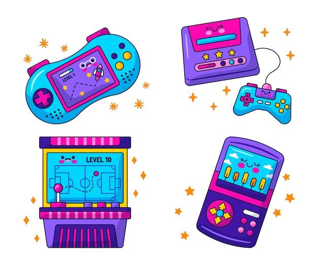 Coleção de adesivos retrô de videogame kawaii