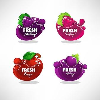 Coleção de adesivos, rótulos, emblemas e banners para quadros de bolhas brilhantes para suco de frutas frescas