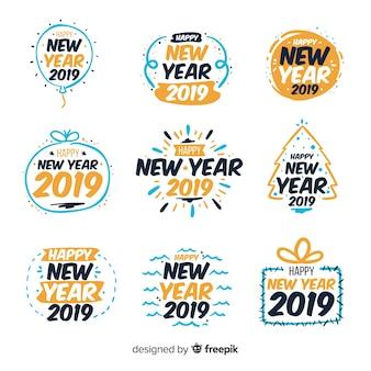 Coleção de adesivos simples ano novo