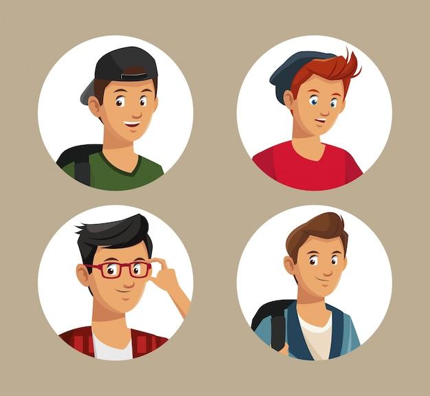 Coleção de adolescentes estilo menino estudante
