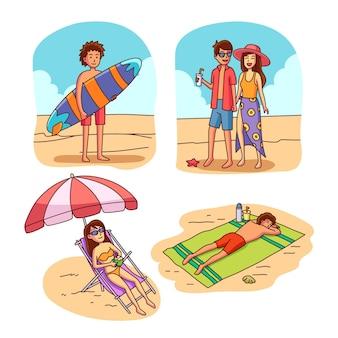 Coleção de adolescentes na praia