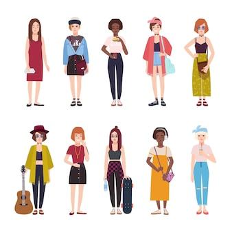 Coleção de adolescentes vestidas com roupas da moda