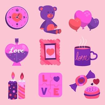 Coleção de adoráveis elementos do dia dos namorados