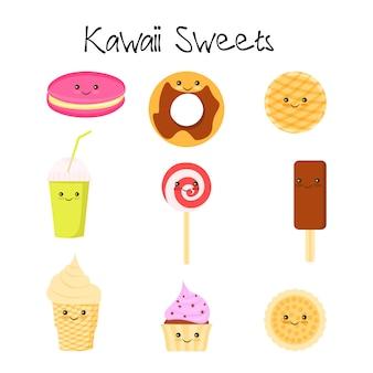 Coleção de adorável bebê doce e sobremesa doodle ícone