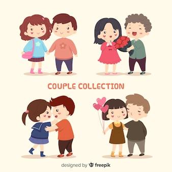 Coleção de adorável casal de namorados