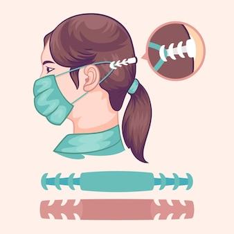 Coleção de alças de máscara facial ajustável realista
