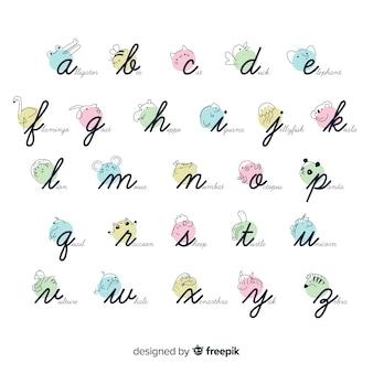 Coleção de alfabeto animal dos desenhos animados