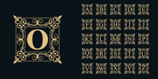 Coleção de alfabeto com ornamento de quadro de logotipo floral.