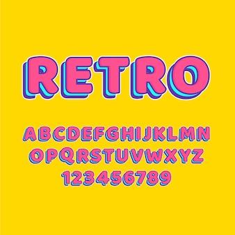 Coleção de alfabeto de a a z em 3d tema retro