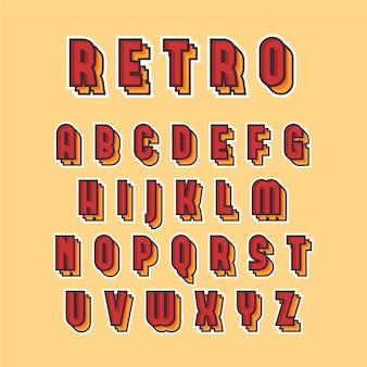 Coleção de alfabeto de a a z em design retro 3d