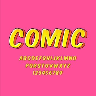 Coleção de alfabeto de a a z no conceito de quadrinhos 3d