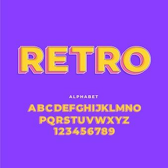 Coleção de alfabeto de a a z no conceito retrô 3d
