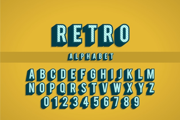 Coleção de alfabeto de à z em 3d retrô