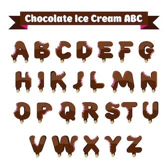 Coleção de alfabeto de chocolate