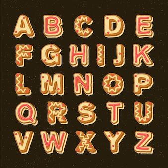 Coleção de alfabeto de natal de gengibre