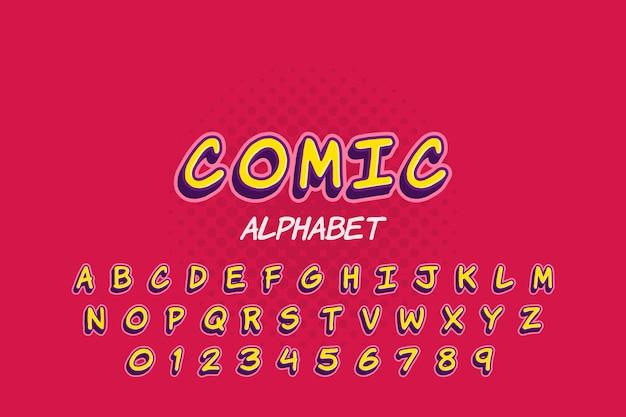 Coleção de alfabeto em design 3d em quadrinhos