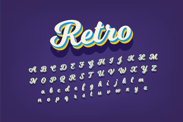 Coleção de alfabeto em design retro 3d