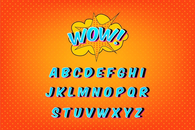Coleção de alfabeto em quadrinhos 3d