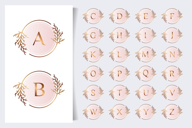 Coleção de alfabeto floral