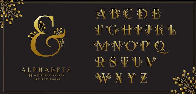 Coleção de alfabetos florais dourados