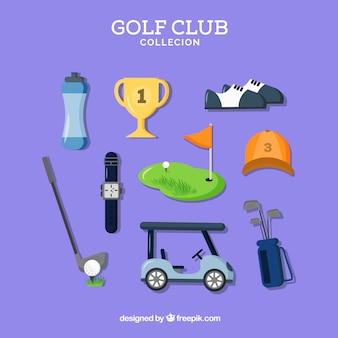 Coleção de alguns elementos de golfe