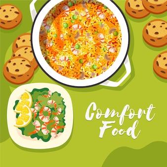 Coleção de alimentos confortáveis ilustrada