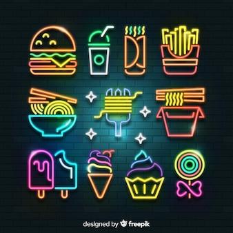 Coleção de alimentos de néon