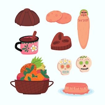 Coleção de alimentos desenhados à mão com diâmetros planos