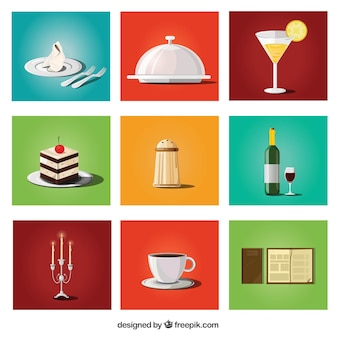 Coleção de alimentos e itens de restaurante