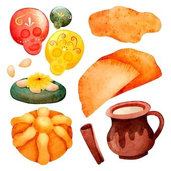 Coleção de alimentos em aquarela de dia de muertos