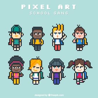Coleção de alunos pixelizada
