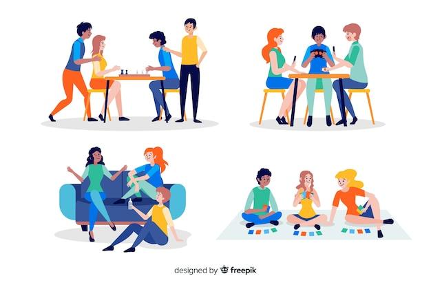 Coleção de amigos a passar tempo juntos