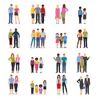 Coleção de amigos ícones plana de amigos