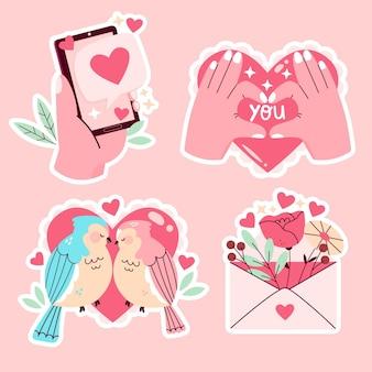 Coleção de amor fofa desenhada à mão