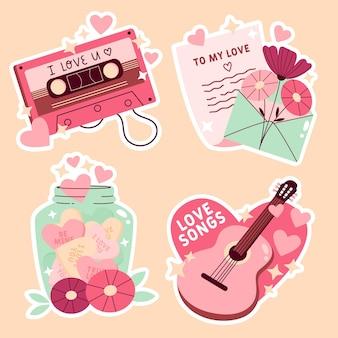 Coleção de amor fofa desenhada à mão Vetor Premium