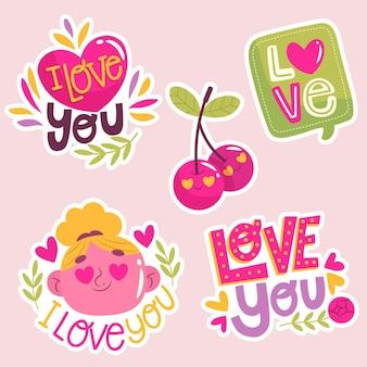 Coleção de amor plana colorida