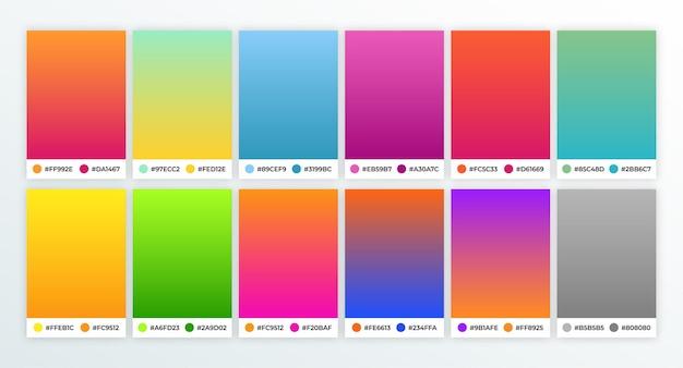 Coleção de amostras de gradientes coloridos vibrantes