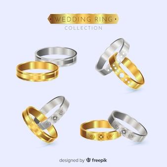 Coleção de anéis de casamento realista