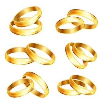 Coleção de anéis de ouro brilhantes de casamento isolada no fundo branco vetor 3d esp10