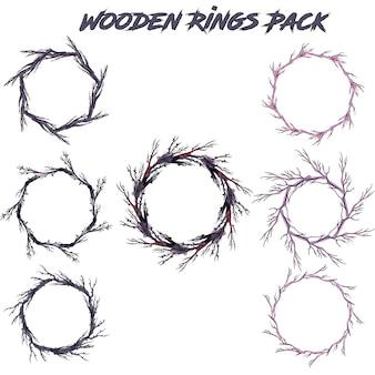 Coleção de anéis de ramos de aguarelas desenhadas à mão