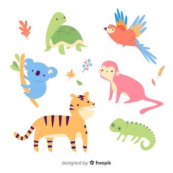 Coleção de animais artística e colorida