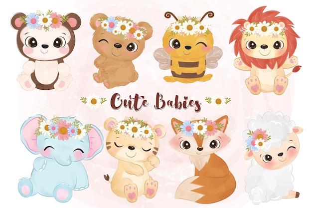 Coleção de animais bebês em ilustração em aquarela