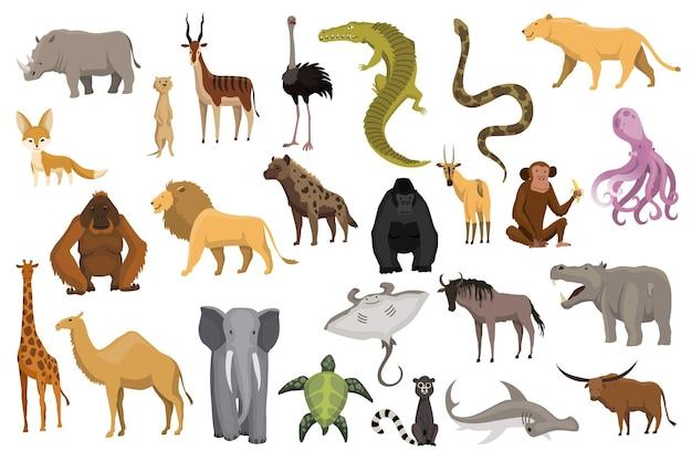 Coleção de animais bonitos do vetor. animais desenhados à mão que são comuns na áfrica. conjunto de ícones isolado em um fundo branco.