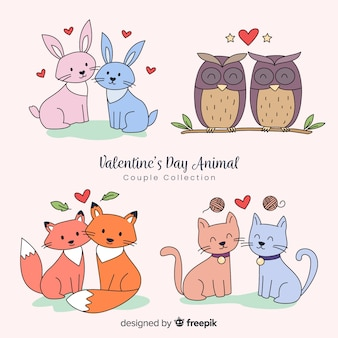 Coleção de animais casal de dia dos namorados